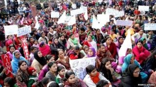 Protests against the gang-rape of a mentally disabled woman in Rohtak, 9 February 2015