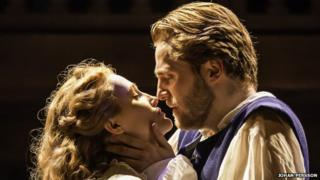 Eve Ponsonby and Orlando James in Shakespeare in Love