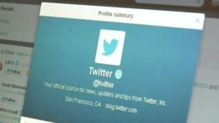 Twitter profile on computer screen