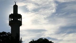 The minaret of the London Central Mosque, near Regents Park, London