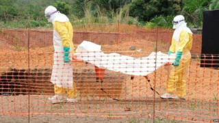 MSF staff carry the body of an Ebola victim in Guekedou, Guinea, on 1 April 2014
