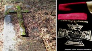 Images showing the grave of Wallace Wright VC and a Victoria Cross