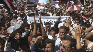 Demonstrators in Yemen