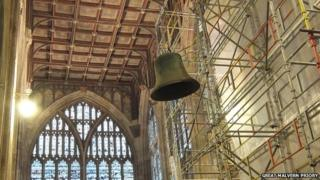 Great Malvern Priory bells being moved