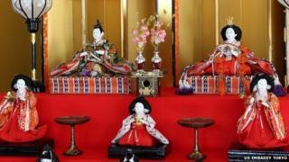 The dolls on display