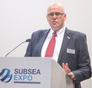 Subsea UK chief executive Neil Gordon speaking at Subsea Expo