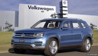 Volkswagen crossblue SUV in front of Chattanooga factory