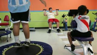 Puerto Rican boys exercise at a gym specialised in children's fitness in Guaynabo, Puerto Rico