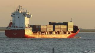 A container ship at sea
