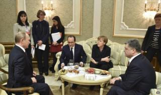 (From left) Russian President Vladimir Putin, French President Francois Hollande, German Chancellor Angela Merkel and Ukrainian President Petro Poroshenko in Minsk, 11 February