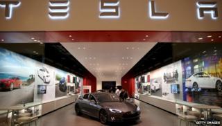 Tesla car on display in mall in Florida