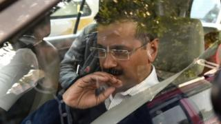 Aam Aadmi Party leader Arvind Kejriwal arrives for a meeting with Indian Home Minister Rajnath Singh on 11 February 2015