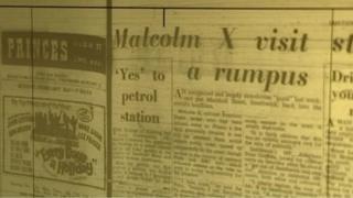 Newspaper detailing Malcolm X's visit