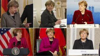 Composite picture of Angela Merkel over the past week: Top Row, left to right: Mrs Merkel in Kiev, 5 February 2015, Mrs Merkel in Moscow, 6 February, Mrs Merkel in Munich, 7 February. Bottom row, left to right: Mrs Merkel in Washington, 9 February, Mrs Merkel in Ottawa, 10 February, Mrs Merkel in Minsk, 12 February