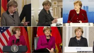 Composite picture of Angela Merkel over the past week: Top Row, left to right: Mrs Merkel in Kiev, 5 February 2015, Mrs Merkel in Moscow, 6 February, Mrs Merkel in Munich, 7 February. Bottom row, left to right: Mrs Merkel in Washington, 9 February, Mrs Merkel in Ottawa, 10 February, Mrs Merkel in Minsk, 12 February