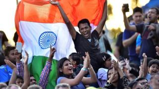 Indian fans attend the opening ceremony of the 2015 Cricket World Cup in Melbourne, Australia on 12 February 2015