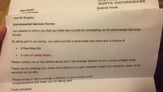Cherwell letter about prize draw winner