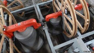 Restored church bells and frames at Christ Church, Bath