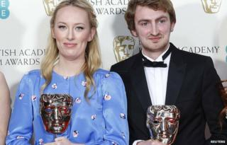 Daisy Jacobs and producer Chris Hees celebrate after their Bafta win