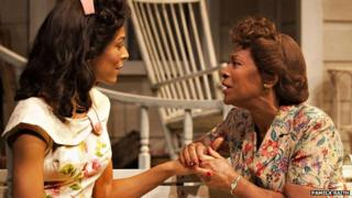Kemi-Bo Jacobs as Ann Deever and Dona Croll as Kate Keller in All My Sons