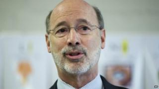 Gov. Tom Wolf speaks during a news conference at Elementary School Thorndale, Pennsylvania 11 February 2015