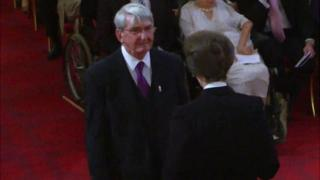 David Rogers receiving his MBE from the Princess Royal