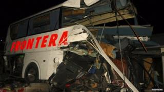 Wreckage of passenger bus at site of accident with train in Anahuac. 13 Feb 2015