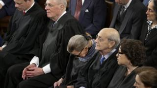 Supreme Court Justice Ruth Bader Ginsburg, centre, dozes during President Barack Obama's State of the Union address on Capitol Hill in Washington on 20 January 2015
