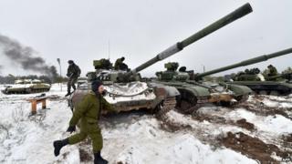Ukrainian reserve officer take part in military exercises near village of Desna, Chernigiv region. 13 Feb 2015