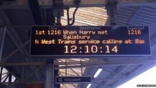 South West Trains Valentine's Day messages on departure boards