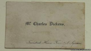 A visiting card used by novelist Charles Dickens