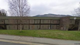Former Laura Ashley factory at Carno, Powys