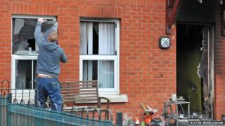Repairs at petrol bombed house