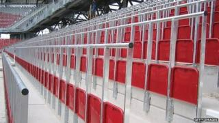 Example of safe-standing area at a German football ground