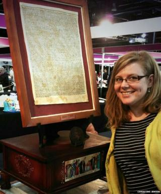 Christine Jensen with her Magna Carta cake