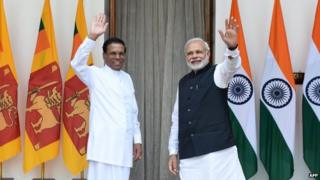 Mr Sirisena (left) and Mr Modi have pledged to improve Delhi-Colombo ties