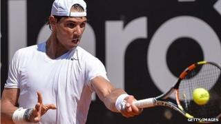 Rafael Nadal practises at the Rio Open