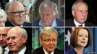 Malcolm Fraser, Bob Hawke, Paul Keating, John Howard, Kevin Rudd and Julia Gillard