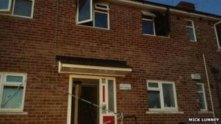 The scene of the flat fire in Manor Park Road, Sheffield