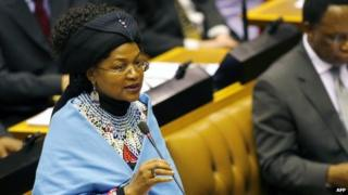 South African parliament speaker Baleka Mbete speaking in parliament
