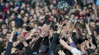 Ball in the air during Shrovetide game