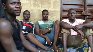 Truck drivers from Maiduguri, Nigeria, pictured at Ogbere Trailer Park in Ogun State - February 2015