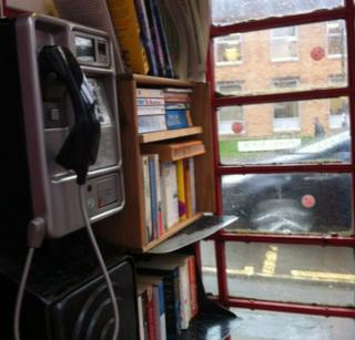 Interior of phone box library