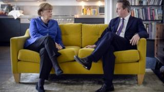 German Chancellor Angela Merkel and British Prime Minister David Cameron in Downing Street, February 27, 2014