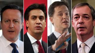 David Cameron, Ed Miliband, Nick Clegg, Nigel Farage