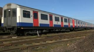 The London Underground train which is being refurbished
