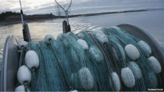 Fishing net on boat