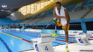 Achmat Hassiem in a swimming pool