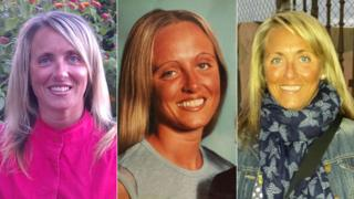 Three pictures of Laura's tanned face through the years