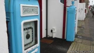 Defunct 1950s petrol pumps at Bath Street in Seven Dials, Brighton